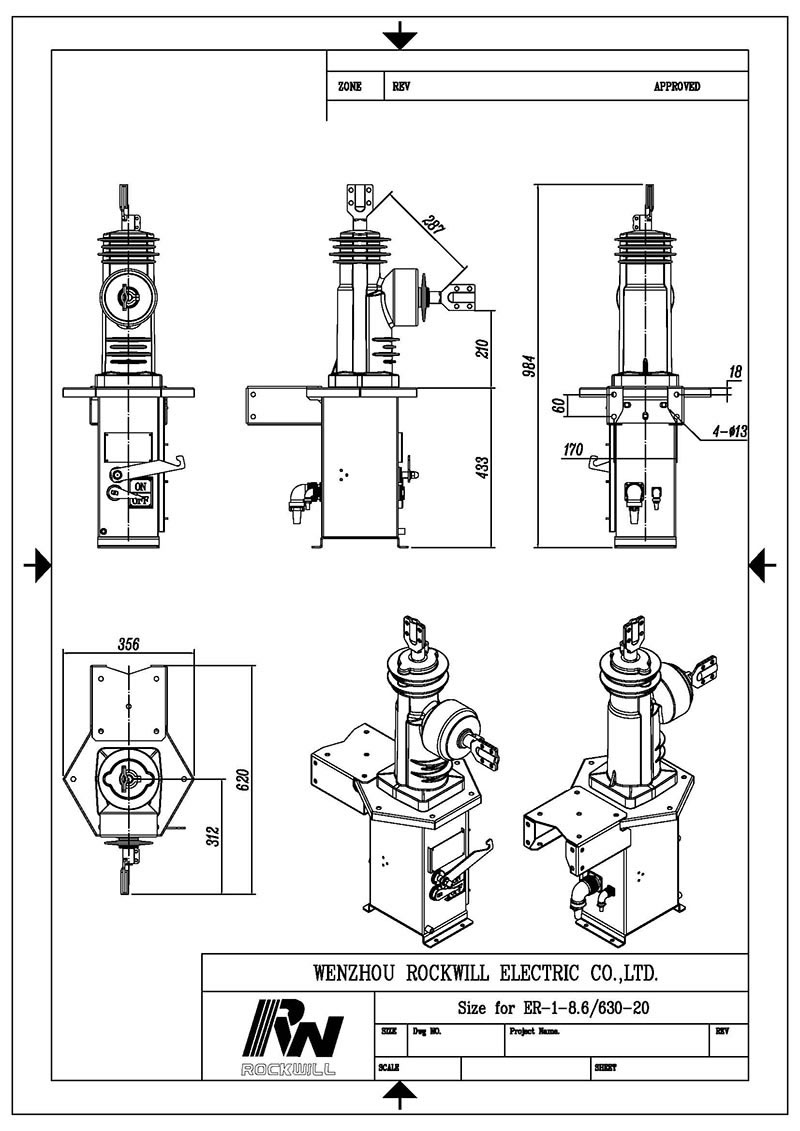 8.6kV single phase auto recloser drawing