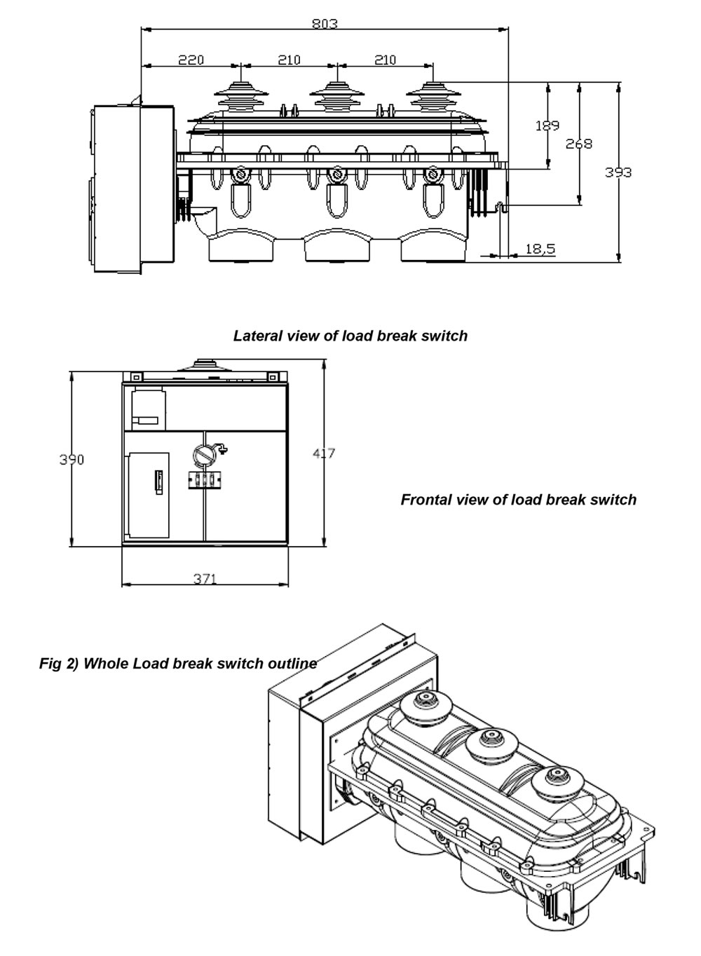 Dimension of indoor sf6 gas load break switch